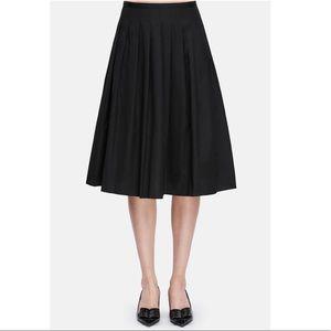 Vince Black A-line Multi Pleated Midi Skirt